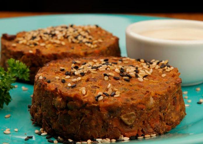 Hambúrguer vegetariano de lentilha