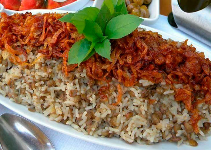Lentilha à moda árabe (mjadra)